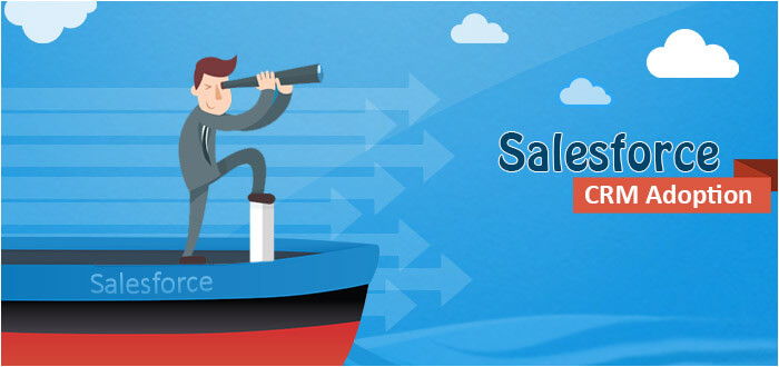 Vector Image with some cloud Icons and guy is looking for salesforce